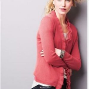 Garnet Hill Cashmere button front cardigan Small